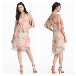 WHBM Cold Shoulder Watercolor Flutter Sleeve Dress